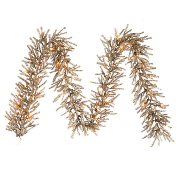 Mocha-brown 9-foot Garland with 50 Clear DuraLit Lights