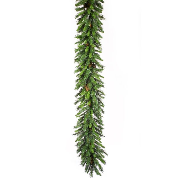 Green 9-foot Cheyenne Garland with Cones