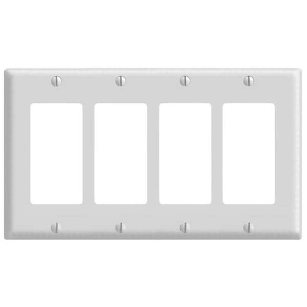 Leviton 005-80412-W Four Gang White Switch Wallplate