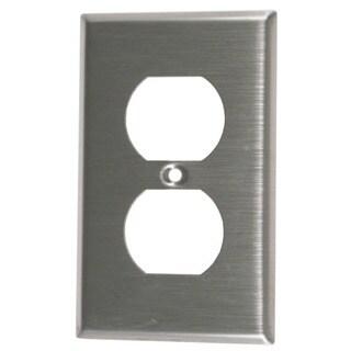 Leviton 004-84003-04 Single Gang Stainless Steel Duplex Receptacle Wallplate