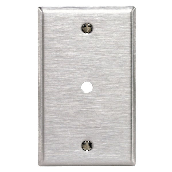 "Leviton 003-84013-000 1-Gang .312"" Hole Stainless Steel Telephone/Cable Wall Plate"