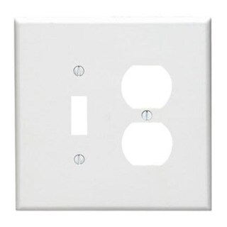 Leviton 001-88105-W Double Gang White Toggle & Duplex Receptacle Wallplate 19950846