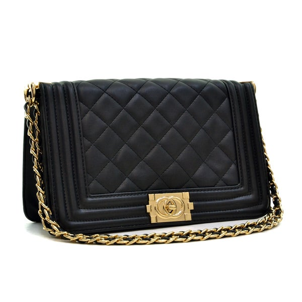 Dasein Quilted Crossbody Bag with Intertwined Leather Gold-Tone Chain Straps 19951331