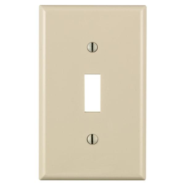 Leviton 024-80701-00T Light Almond 1 Gang Toggle Switch Wall Plate