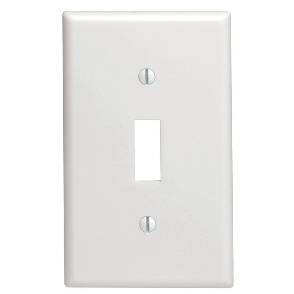 Leviton 022-00PJ1-00W 1-Gang Midway Size White Toggle Switch Wall Plate