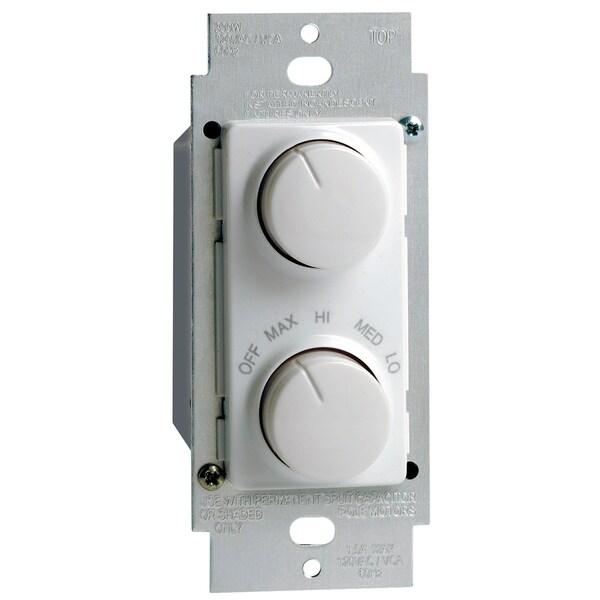 Leviton 101-RTD01-10Z 300 Watt Single Pole Rotary Combo Fan Speed Dimmer Control