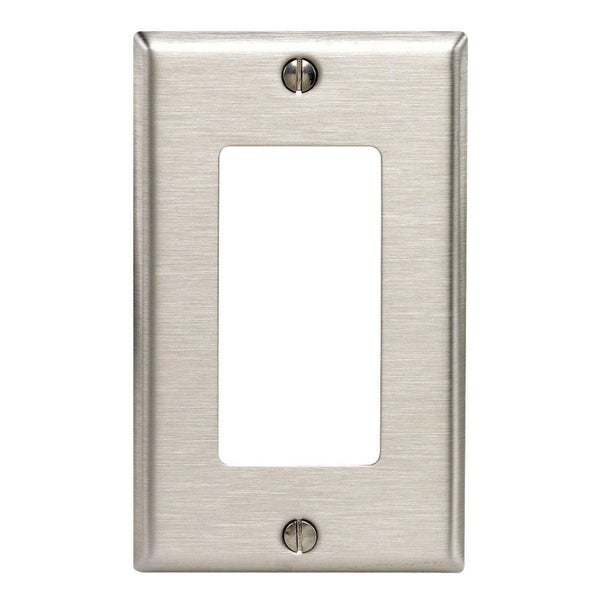 Leviton 105-84401-040 Single Gang Stainless Steel 1-Decora Rocker Wallplate