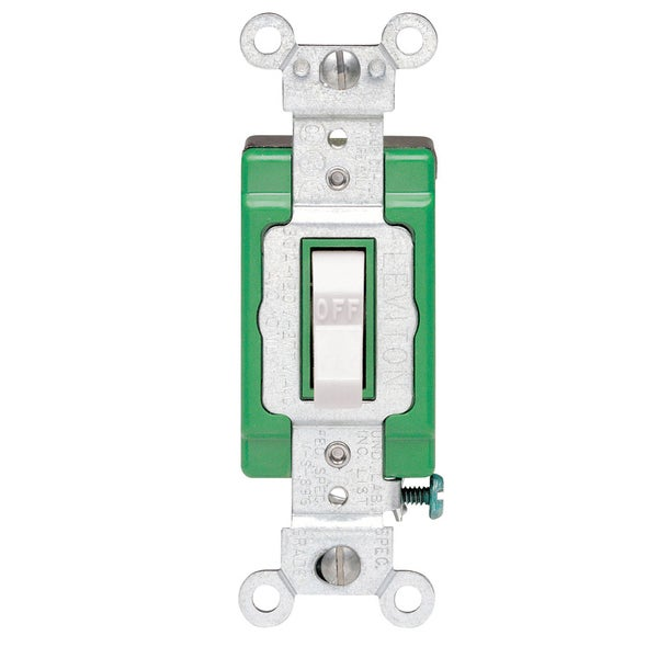 Leviton 152-3032-02W 30 Amp 120 Volt White Toggle Light Switch