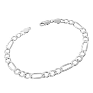 .925 Sterling Silver 6.5mm Solid Figaro Link Diamond Cut ITProLux Bracelet Chain 8.5""