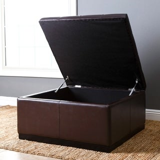 ABBYSON LIVING Frankfurt Dark Brown Leather Tufted Square Storage Ottoman