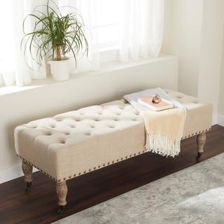 ABBYSON LIVING French Vintage Wheat Linen Rectangle Ottoman Bench