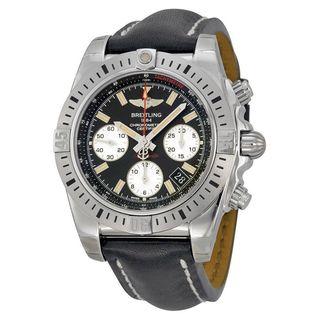Breitling Men's AB01442J-BD26LS 'Chronomat 41 Airborne' Chronograph Automatic Black Leather Watch