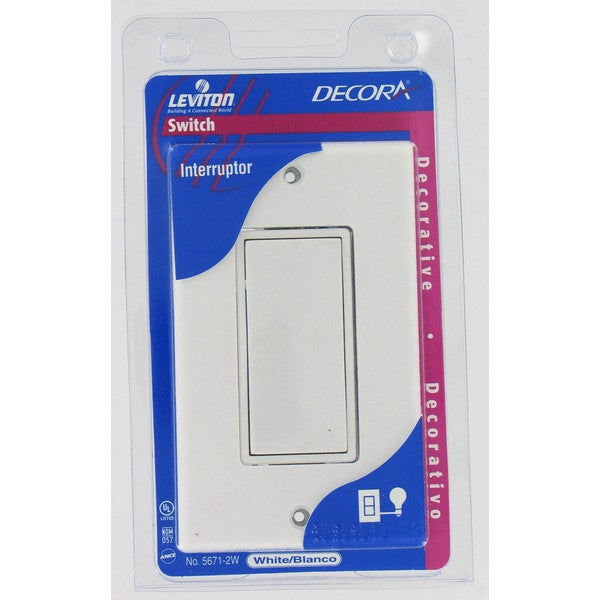 Leviton C28-05671-02W White Residential Grade Decora AC Quiet Rocker Switch & Plat