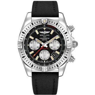 Breitling Men's AB01154G-BD13MS 'Chronomat 44 Airborn' Chronograph Automatic Black Canvas Watch