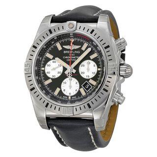 Breitling Men's AB01154G-BD13LS 'Chronomat 44 Airborn' Chronograph Automatic Black Leather Watch