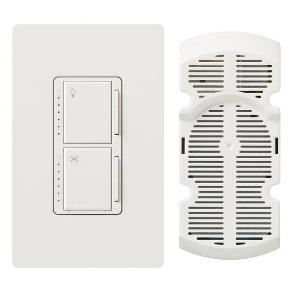 Lutron MA-LFQHW-WH White Fan Control & Dimmer