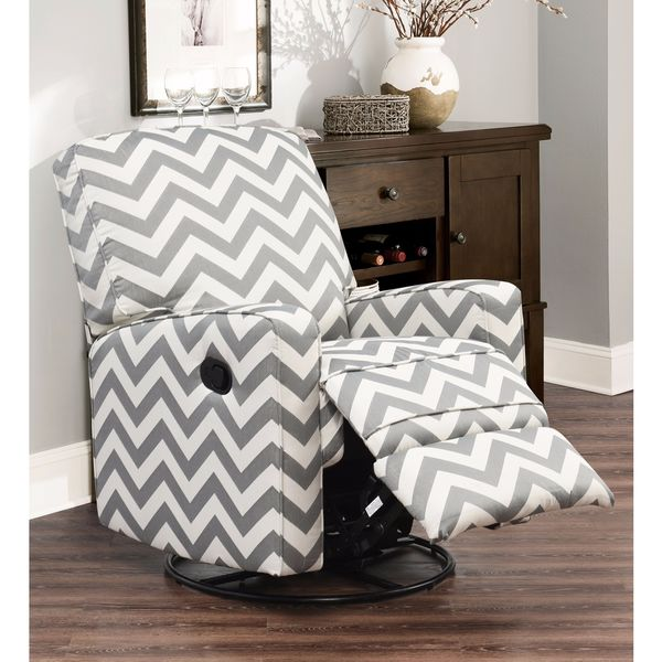 ABBYSON LIVING Bella Grey Chevron Fabric Reclining Swivel Glider