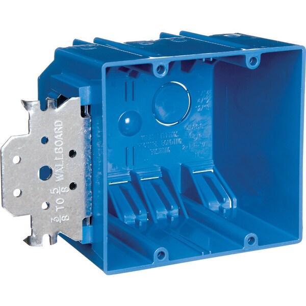 Carlon  3-3/4 in. H Rectangle  2 Gang  Outlet Box  Blue  PVC 19951941