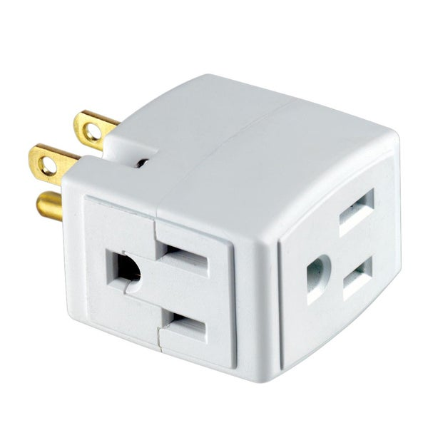 Leviton R54-00692-00W 15 Amp, 125 Volt White Triple Cube Grounding Adapter