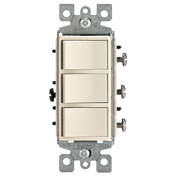 Leviton R66-01755-0TS Light Almond Decora Triple Rocker Combination Switch