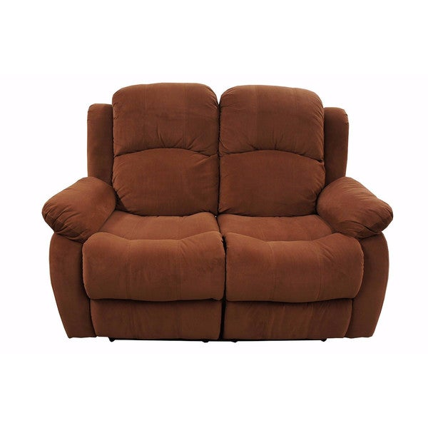 Traditional Brown Brush Microfiber Recliner Loveseat