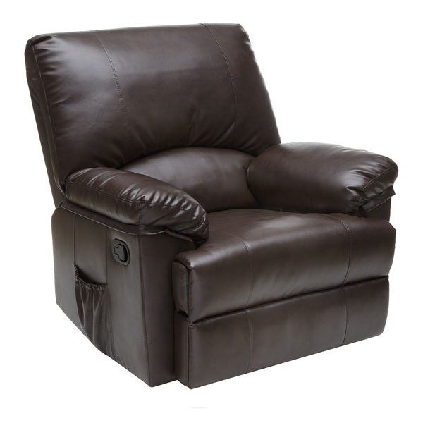 Relaxzen Brown Marbled Leather Rocker Recliner