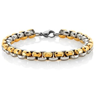Crucible Men's Two-Tone High Polished Stainless Steel Beveled Box Chain Bracelet - 8.75 inches (8mm Wide)