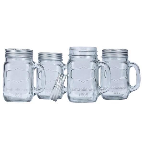 Euro-Ware Glass Mason Jar Mugs (Set Of 4)