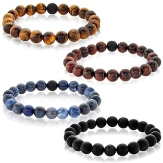 Crucible Men's Polished Tiger Eye and Black Matte Onyx Bead Stretch Bracelet - 8.5 inches (10mm Wide)