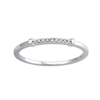 Beverly Hills Charm 14k White Gold Diamond Stackable Band Ring Guard (H-I, SI2-I1)