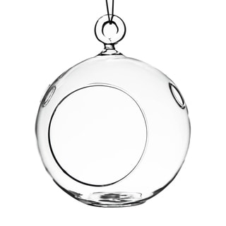 Clear 4-inch Round Hanging Votive Candle Holder / Terrarium Glass Vase (Set of 6)