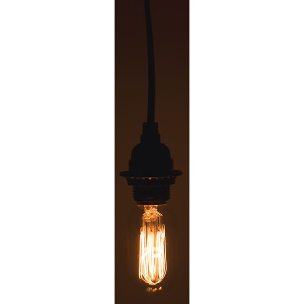 Black Single Light Socket with Vintage Antique Light Bulb