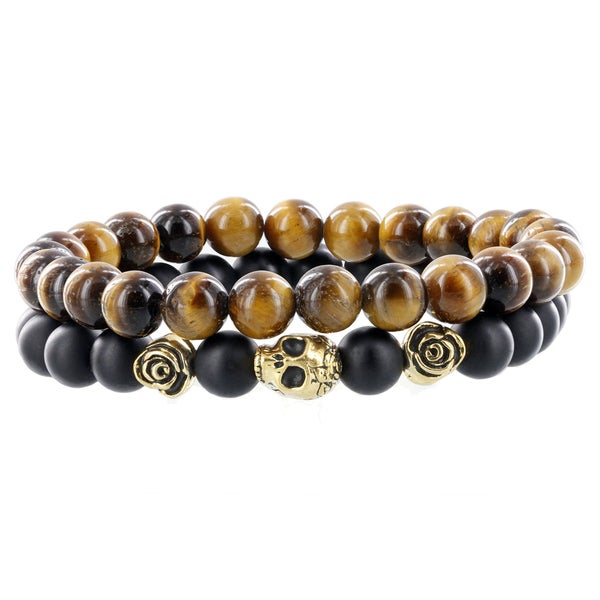 Fox and Baubles Men's Brass Skull and Roses Tiger Eye and Matte-black Agate Beaded Stretch Bracelets 19953583