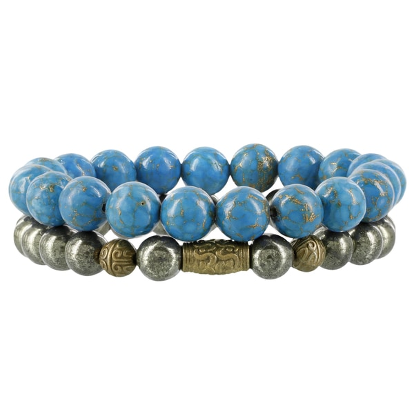 Fox and Baubles Brass Turquoise/Pyrite Men's Beaded Stretch Bracelets