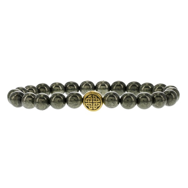 Fox and Baubles Men's Pyrite and Brass Eternity Spacer Beaded Stretch Bracelet 19953612