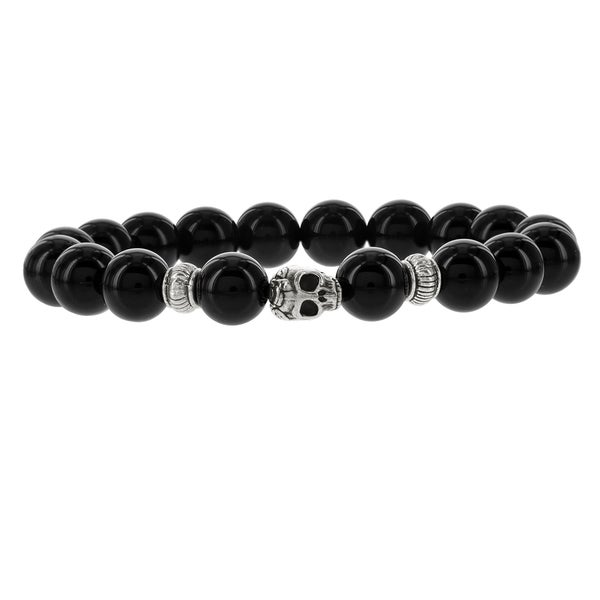 Fox and Baubles Mens' Smooth Black Agate with Brass Skull and Spacers Beaded Stretch Bracelet