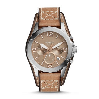 Fossil Men's JR1518 Nate Chronograph Taupe Dial Light Brown Leather Watch