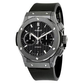 Hublot Men's 521.CM.1771.RX 'Classic Fusion Black Magic' Chronograph Automatic Mat Carbon Fiber Black Rubber Watch