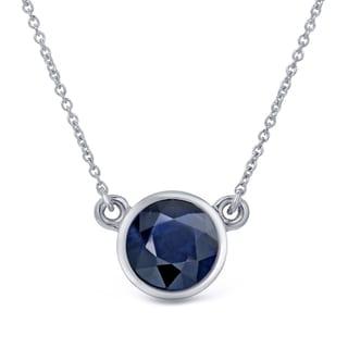 Auriya 14k Gold 1ct Round-Cut Blue Sapphire Solitaire Bezel Necklace