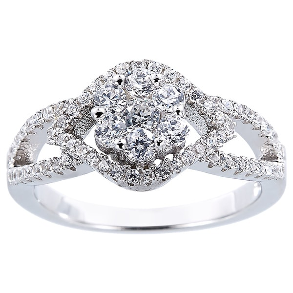 Silver Composite Design Floral Cubic Zirconia Ring