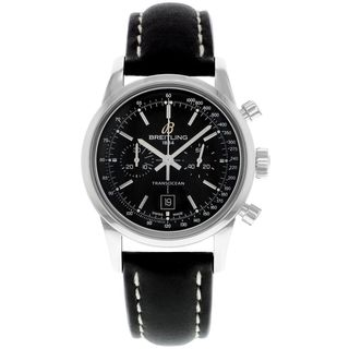 Breitling Men's A4131012-BC06SA 'Transocean' Chronograph Automatic Black Leather Watch