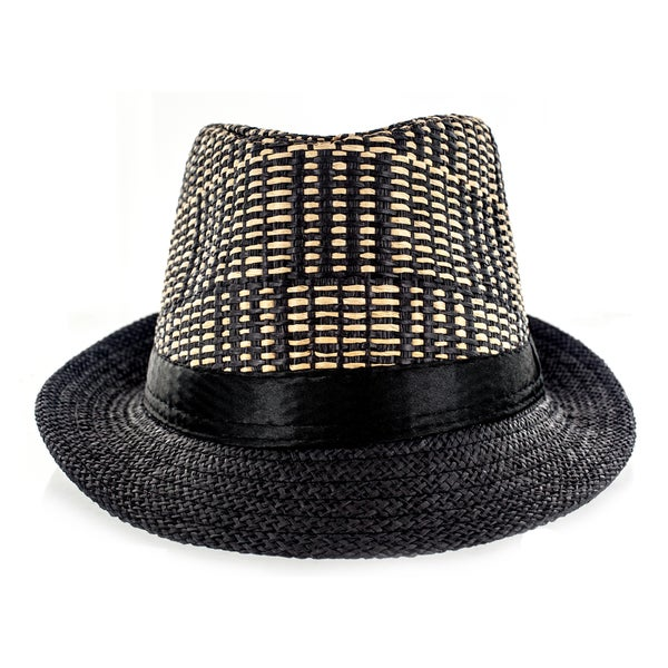 Faddism Fabric Straw Weave Fedora Hat