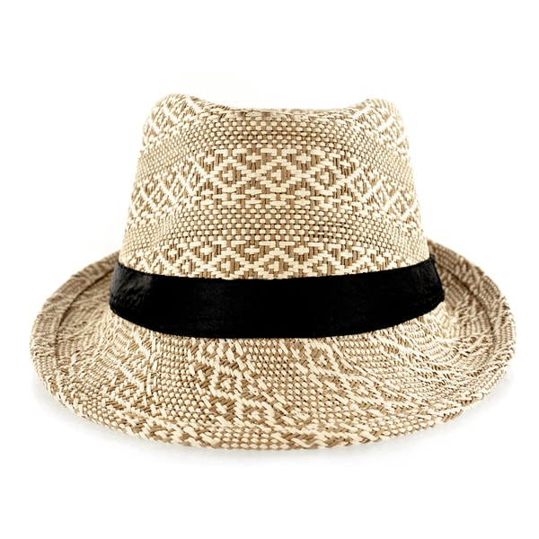 Faddism Black Fabric Trim/Straw Weave Fedora Hat