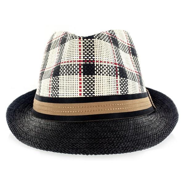 Faddism Fashion Black with Brown Trim Fabric Straw Weave Fedora Hat