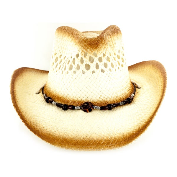 Faddism Brown Fabric Straw Cowboy Hat w/Silver and Wood Adorned Tassel Trim