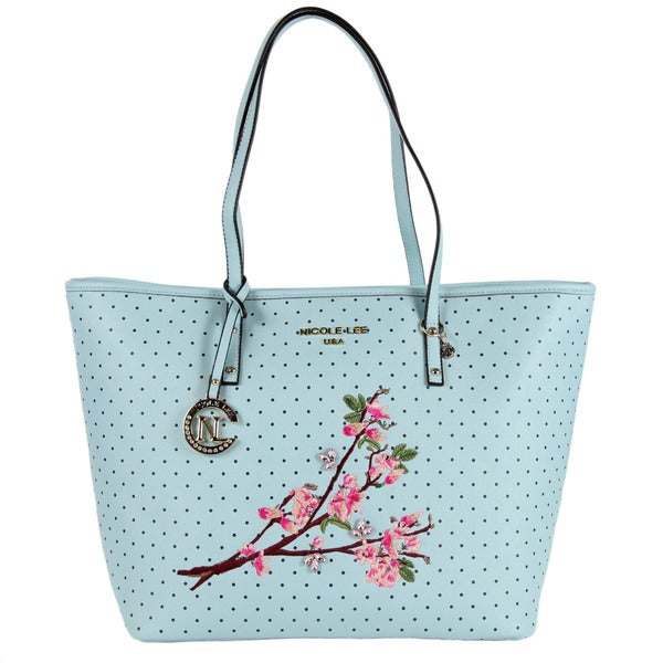 Nicole Lee Kayley Blue Floral Embellishment Shopper Tote Bag