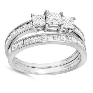 14k White Gold 1 3/4ct TW Princess Diamond Bridal 3-stone Matching Wedding Band Set (H-I, I1-I2)