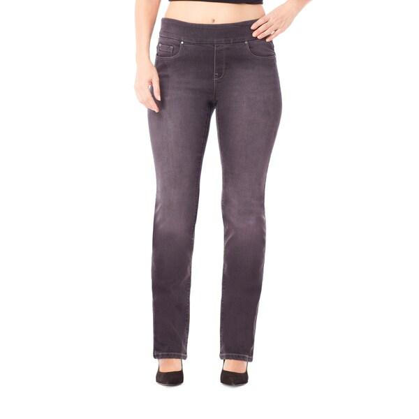 Bluberry Women's Georgia Black Plus-size Straight-leg Denim Pants