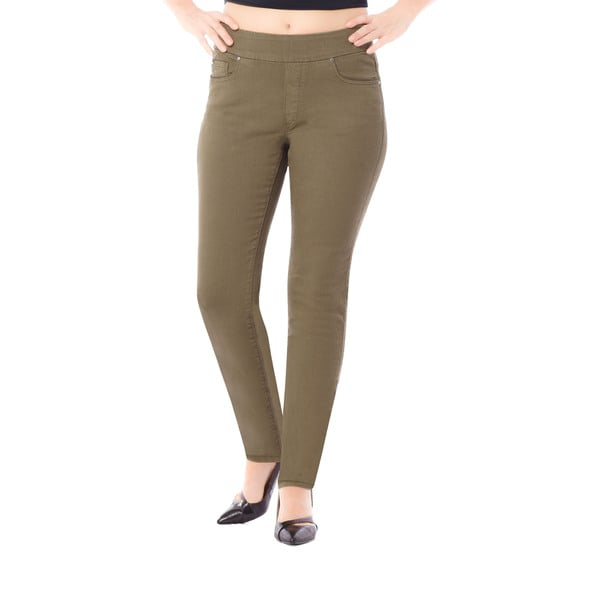 Bluberry Women's Khaki Cotton-Polyester-Spandex Plus Size Slim-fit Pants