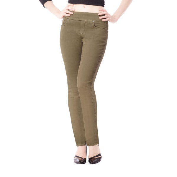 Bluberry Women's Khaki Slim-leg Denim Pants